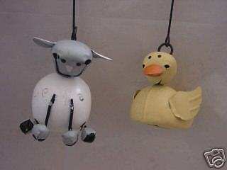 Rubber DUCK & LAMB  JINGLE BELL ORNAMENTS  ~set  4 ~  Tender Heart  NEW