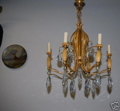 An Antique Heavy French Bronze / Crystal 6 Chandelier 4
