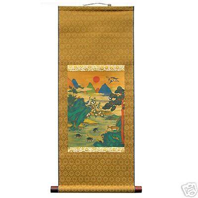 Wall Decor Art Silk Hanging Scroll Folk Landscape Home Longevity Painting Print