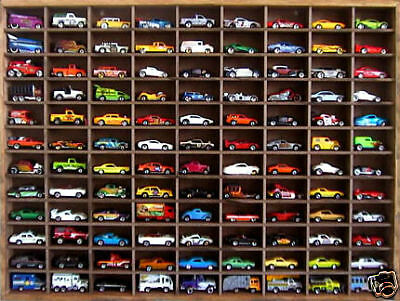 Matchbox Hot Wheels Handmade Display Case 1:64 108 cars Walnut Stain